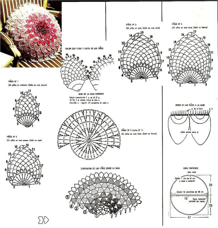 Подушка в форме цветка связанная крючком. Объемная подушка-цветок крючком схемы