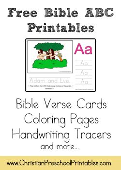 Free Bible ABC Printables, includes verse, coloring page, and handwriting for each letter.