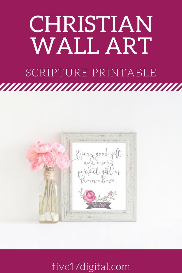 You know that every good and perfect gift is from above when you gaze at your baby girl. This Scripture print of James 1:17 is the perfect décor for her nursery. This would also be a great baptism, christening, or dedication gift.