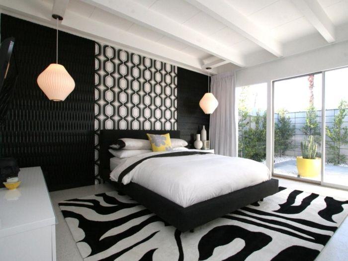 schlafzimmer schwarz weiß muster hängelampen | Schlafzimmer Ideen ...