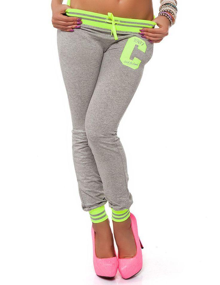 Damen Hose Sporthose College Jogginghose Trainingshose Fitnesshose Freizeithose | eBay