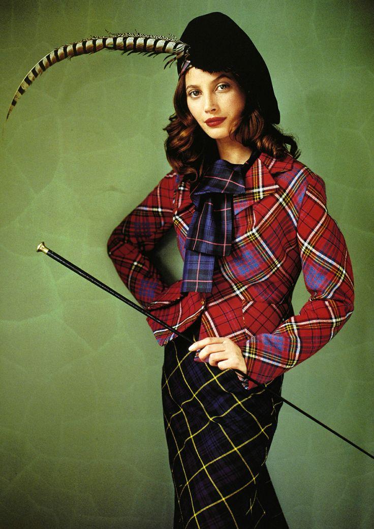 1990s Scottish fashion layout: Christy Turlington by Mario testino for Vivienne Westwood 1993.