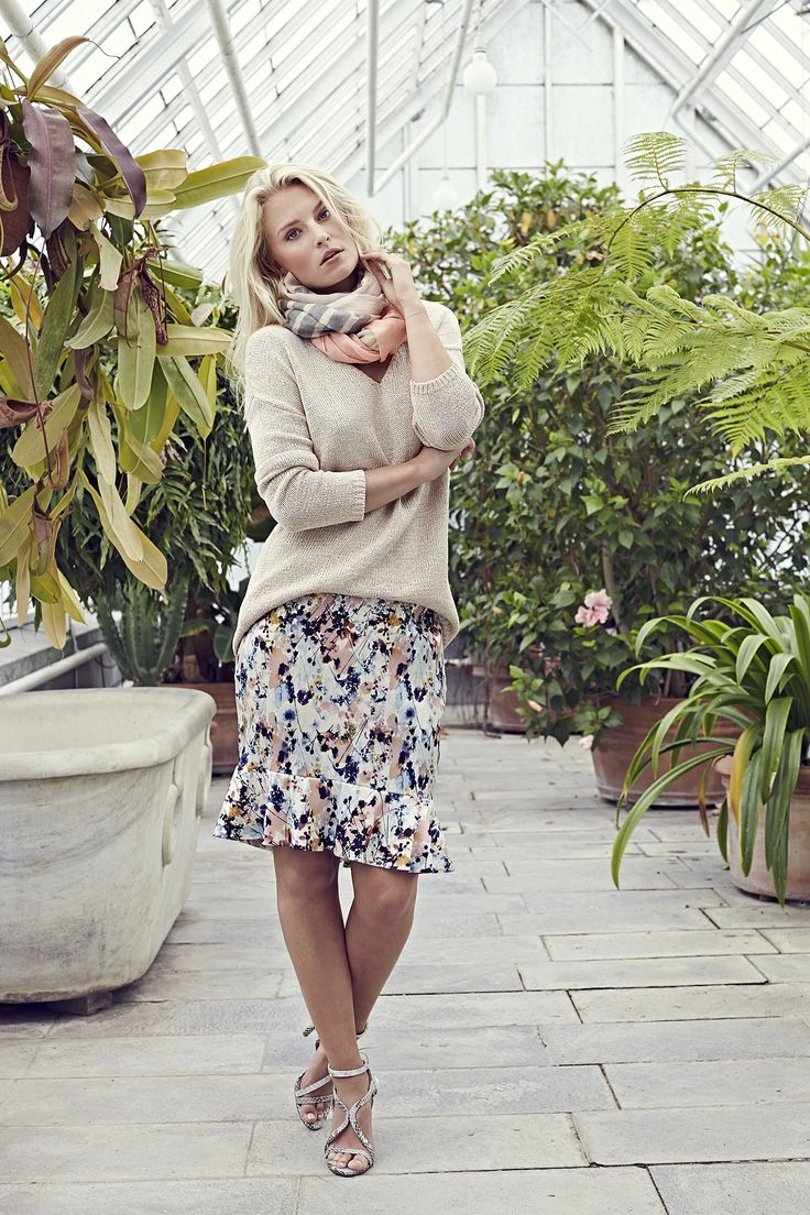 Marlie sweater - Vanilla with Rebecca skirt - Flower Soft and Pricilla scarf - Block Stripe Taupe