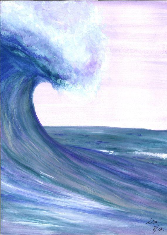 ORIGINAL Watercolor Painting  OCEAN WAVE  9x12 by LisaKeysArtwork, $40.00