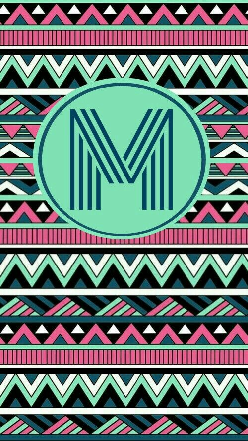 'M' tribal monogram wallpaper
