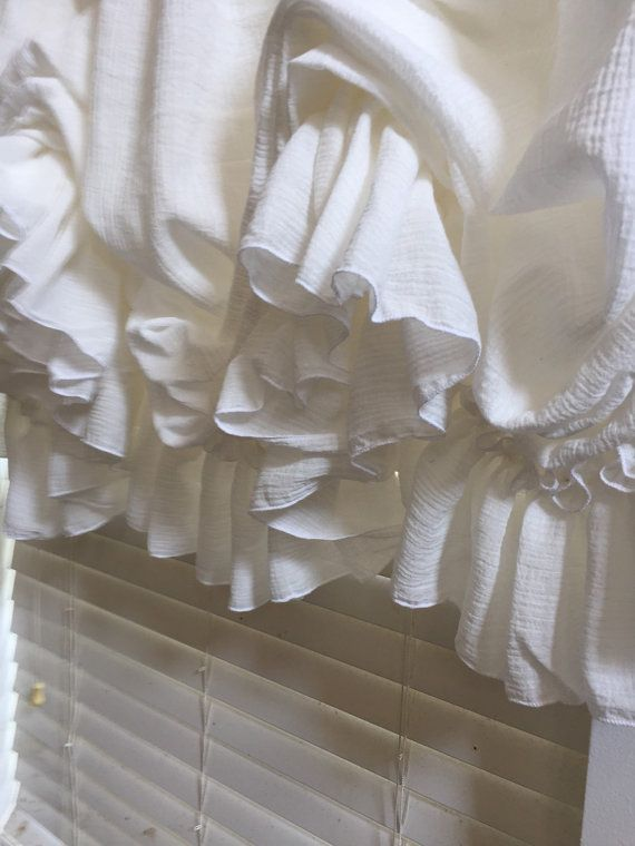 Country French Creamy White Gauze Single Ruffle balloon Curtain