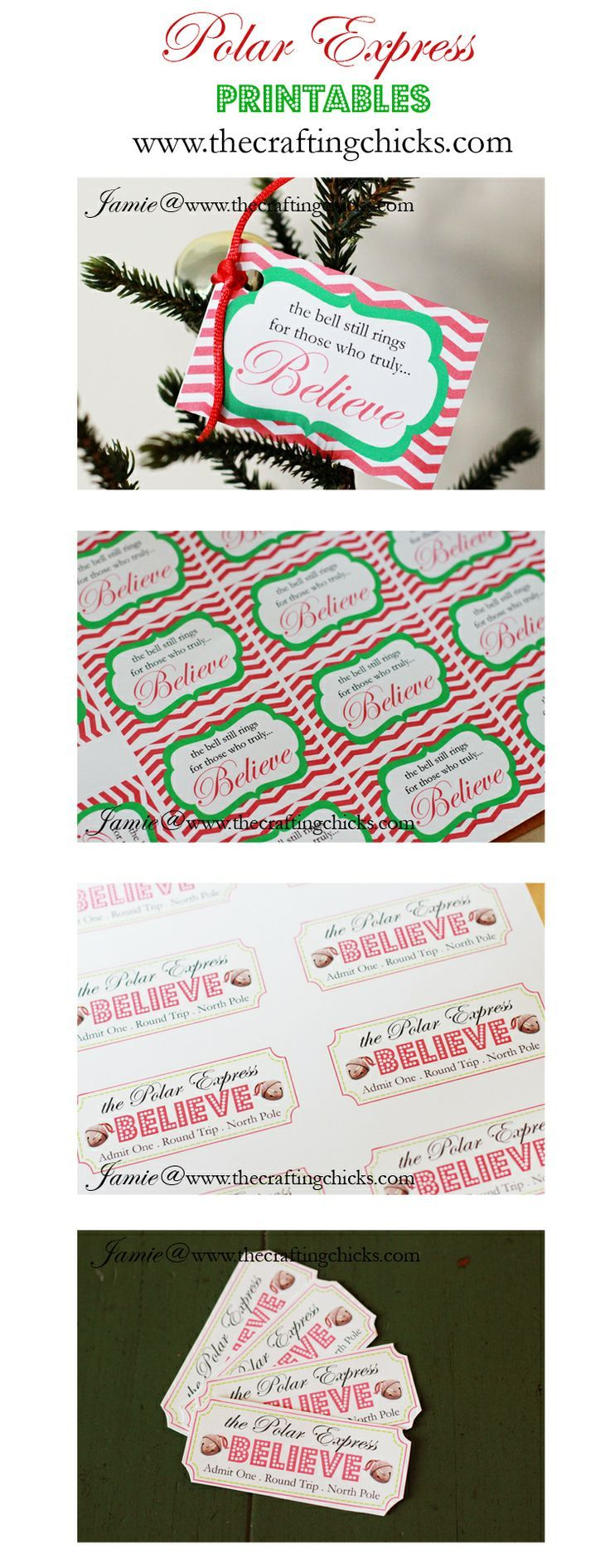 Polar Express Printables - includes a download with tickets and bell tags. Found this for my grandson after his ticket made an accidental trip through the washer (in the pocket of his pjs!)