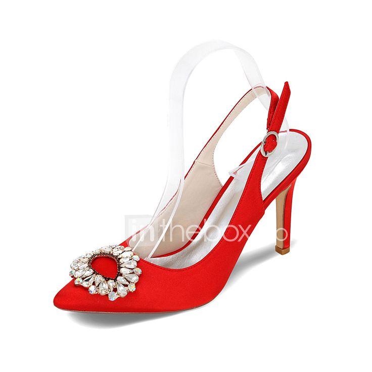 Γυναικεία παπούτσια-Τακούνια-Γάμος / Πάρτι & Βραδινή Έξοδος-Τακούνι Στιλέτο-Με Τακούνι / Μυτερό-Σατέν / Μετάξι-Μαύρο / Μπλε / Ροζ / Μωβ / 5222051 2017 – €31.82