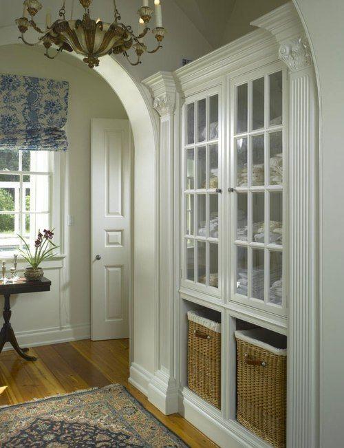 glass doors on linen cabinets