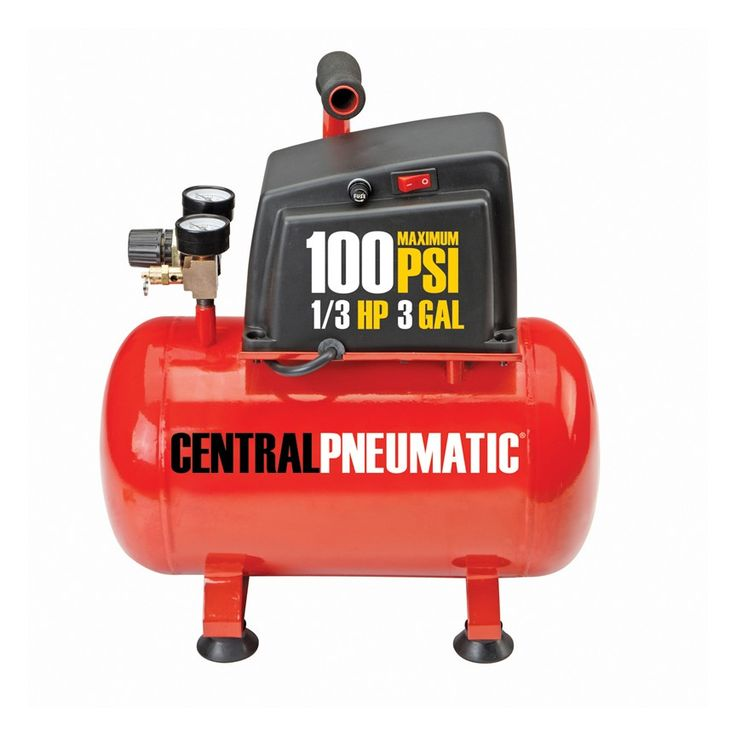 Central Pneumatic 97080 1/3 Horsepower, 3 gal., 100 PSI Oilless Air Compressor [Harbor Freight}
