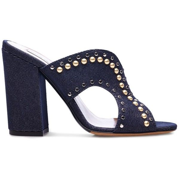 Tabitha Simmons Celia Studded Denim Cutout Slide Sandals ($795) ❤ liked on Polyvore featuring shoes, sandals, heels, heeled sandals, tabitha simmons, cutout sandals, cut out sandals and slide sandals