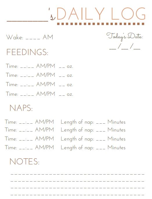 FREE Baby's Daily Care Log  template (printable PDF) to keep track of baby's meals and naps for the day. Perfect to provide to in home day care or nanny!