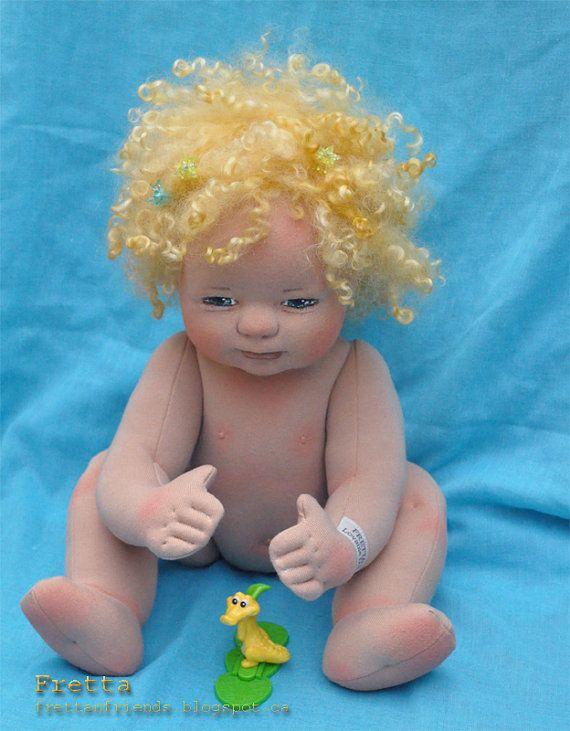 SALEFretta's OOAK Clay & Cloth Baby Doll by FrettasLovableDolls