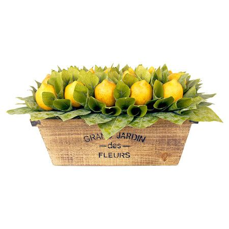 Create a lush tablescape or charming vignette with this lovely faux lemon arrangement, nestled in a rustic crate. Product: Faux...