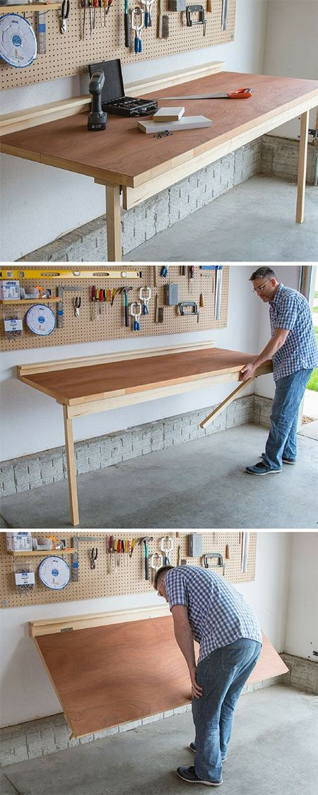 This fold-down worktable is perfect for the craft or DIY enthusiast who doesn't have a lot of space, such as in a spare bedroom, shed, or garage. When not needed, the worktable folds down flat against the wall.
