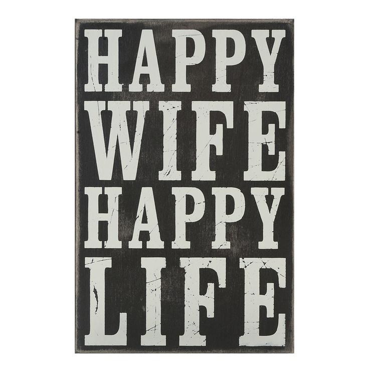 Typography Box Sign Happy Wife Happy Life   Shopko.com