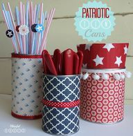 Patriotic Tin Cans ...CUTE for Summer cook outs
