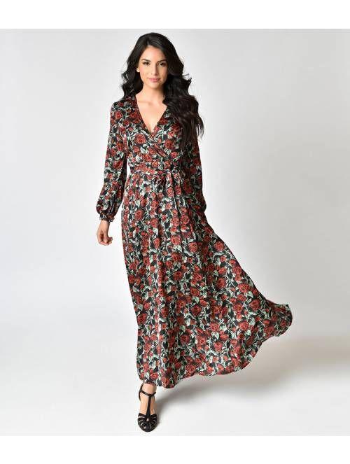 6312359dcd Retro Style Black   Rose Print Long Sleeve Maxi Dress