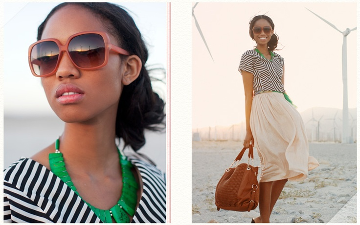 the stripes go perfectly with a chiffon skirt- maybe cream, light pink, or even a white skirt: Colors Combos, Summer Resorts, Statement Necklaces, Über Chic, Green Necklaces, Green Accessories, Stripes Blushes Skirts Green, Blushes Skirts Stripes Green, Chevron Stripes