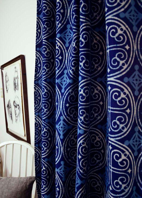"Indigo curtains Blue curtains window treatment bedroom home decor housewares block print home living - ONE panel - GREECE indigo 57""w x 84""L"
