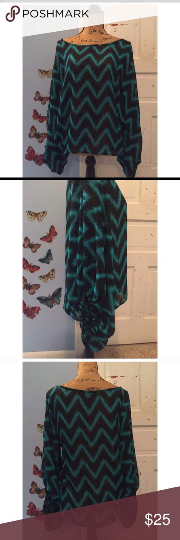 GREEN/BLUISH & BLACK CHEVRON BLOUSE 😍SIZE MEDIUM GREEN/BLUISH & BLACK CHEVRON BLOUSE 😍SIZE MEDIUM NWOT PERFECT CONDITION! ABSOLUTELY BEAUTIFUL BLOUSE ❤️️😍 Tops