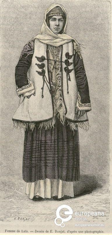 """Engraving Woman with costume from Megara, Attica, Greece. Inscription: """"Femme de Lala. Dessin de E.Ronjat, d' après une photographie"""". Signed: """"E.RONJAT"""". From the magazine """"Le Tour du Monde"""", Paris, 1884, Vol. XLVII, p. 235. 1884"""