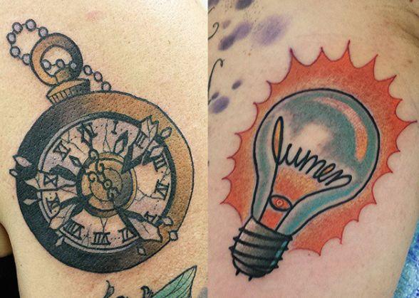 Pocketwatch and lightbulb tattoos - Richie Blackheart