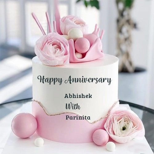 Online edit happy anniversary cake with name photo for
