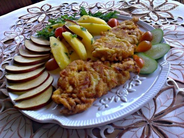 Vyprážané morčacie prsia v jabĺčkovom cestíčku (fotorecept) - Recept