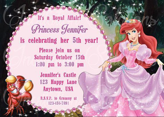 65 best Birthday Invitations images – Ariel Birthday Party Invitations