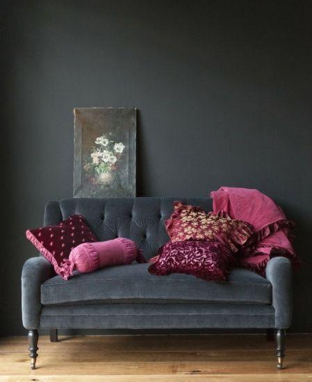 vintage grey and raspberry