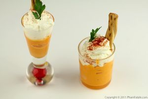 Carrot Cappuccino ~ Cold soup in shot glasses can be served as a wonderfully refreshing summer appetizer or first course.