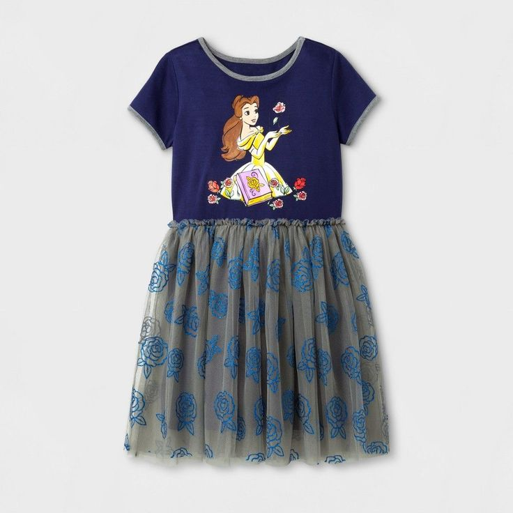 Girls' Disney Princess Belle Tutu Dress - Navy - XS (4-5), Blue