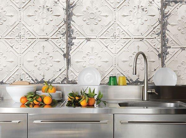 Vintage Tin Tile Peel And Stick Wallpaper Kitchen Backsplash Peel And Stick Vintage Tin Tiles Trendy Kitchen Backsplash