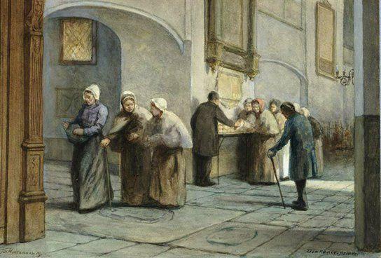 Interieur van de Buurkerk te Utrecht: de noordelijke zijbeuk tijdens de uitdeling van brood aan de armen vanaf de klaptafel van het St. Eloyengasthuis, J. Hoevenaar Wz., 1870-1890, zwart krijt penseel in kleur (waterverf)