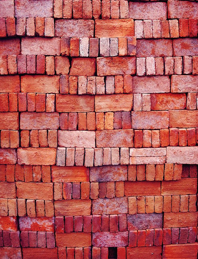 Old Photograph - Sorted Red Bricks  by Emir Dayan Mende