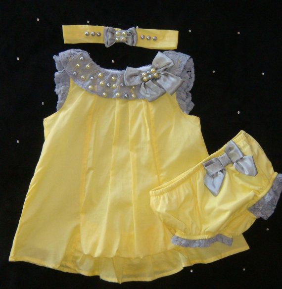Newborn BABY girl outfit set layette onesie  dress take home outfit pants bloomers headband pearls lace yellow grey