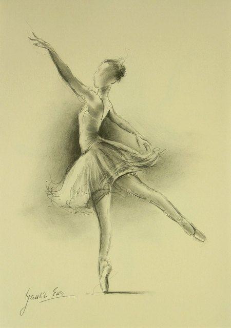 ORIGINAL pencil drawing 11 x 8 1/4 of BALLERINA by by EwaGawlik