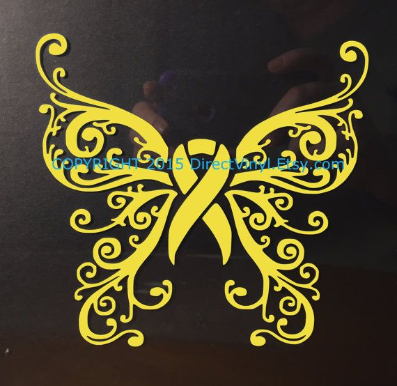 Yellow Awareness Ribbon Fancy Butterfly Window by directvinyl