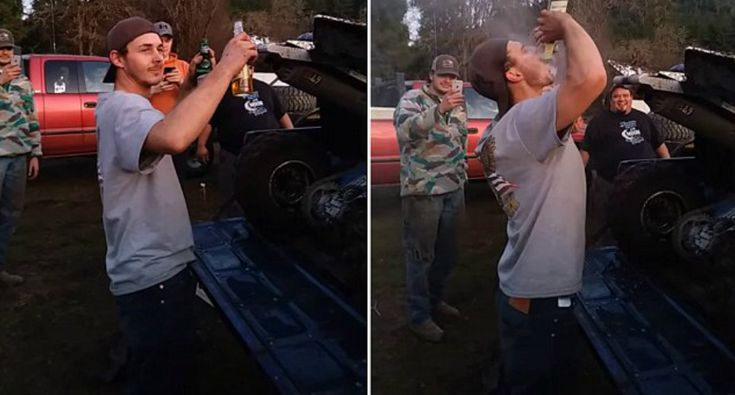 Man Literally Inhales Two Beers Blown In His Face By ATV Exhaust