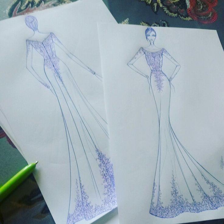 Abito in crepe con pizzo nero #schizzo #figurino #fashion #disegno #penna #abito #fattoamano #dress #moda