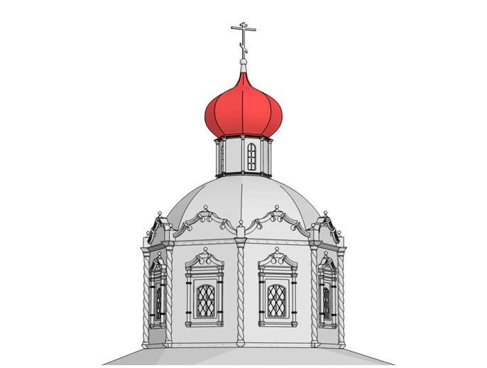 Глава – наружное завершение церковных построек. У данного храма мы видим типичную для XVII века луковичную главу, однако следует заметить, что в плане она имеет не округлую, а многогранную форму, соответствующую многогранной форме барабана. Этот прием стал популярен в эпоху нарышкинского стиля.