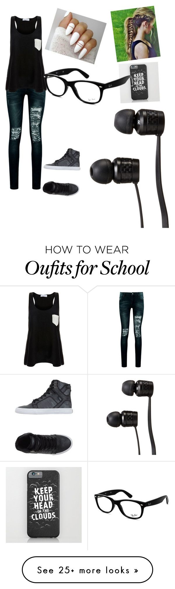 """school"" by batmanforlyfe2001 on Polyvore featuring Boohoo, Solid & Striped, Supra, Ray-Ban and Vans"