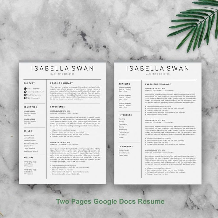 Google Docs Downloadable resume template, Simple resume