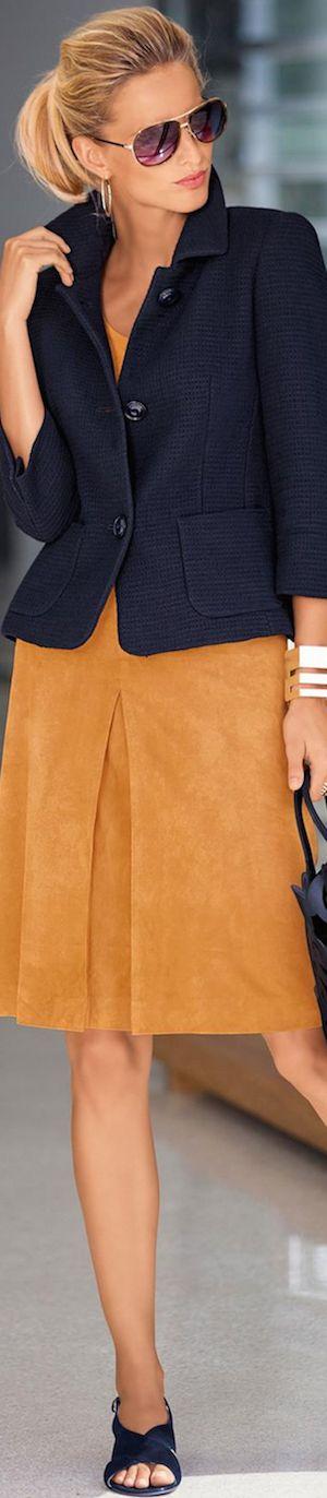 Madeleine Navy Blazer and Leather Skirt. #skirts #Madeleine