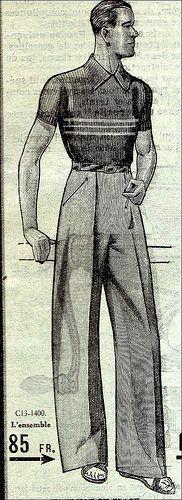 The 1930s -1936 Le chasseur français illustration men's fashion style casual sports wear pants knit top shirt trouser pleated