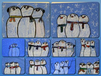 Overlapping Snowmen with oil pastels by elementary students