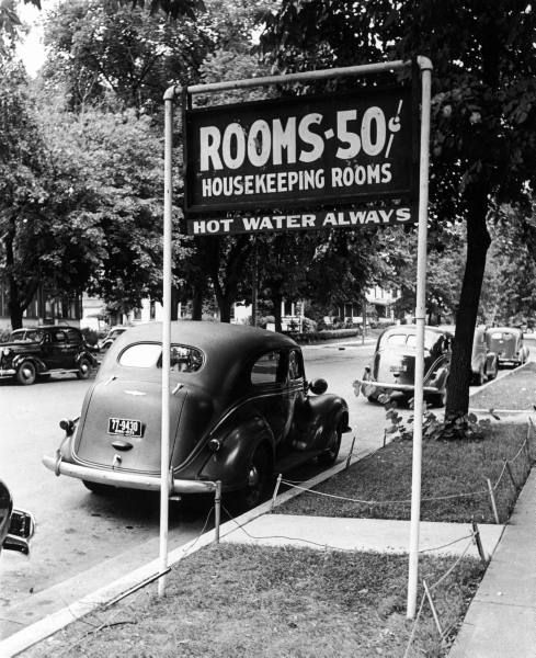 """Rochester, Minnesota 1939 (Reminds me of the song """"King of the Road"""")...rooms to let 50 cents.  :)"""