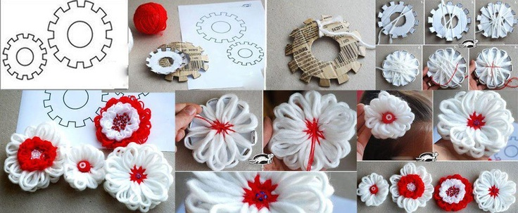 Flores de lana: Crochet Flower, Flower Crafts, Taller Telar, Adornos Flores, Simple Flower, Diy Flower, Flowers, Creative Flower, Pretty Flower
