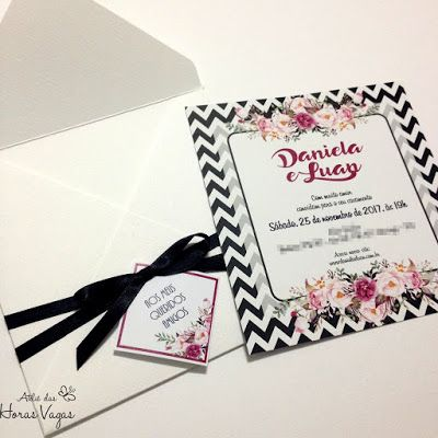 convite de casamento moderno diferente chevron preto e branco com floral vintage